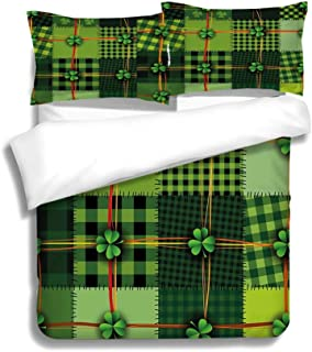 Duvet Cover Set Irish Patchwork Style St Patricks Day Themed Celtic Quilt Cultural Checkered with Clovers Decorative 3 Piece Bedding Set with Pillow Shams, Queen/Full, Dark Orange White Teal Coral