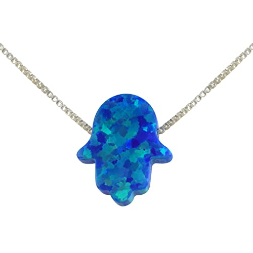 8a270500f aJudaica Blue Created Opal Hamsa Hand Pendant Necklace with Sterling Silver  Chain