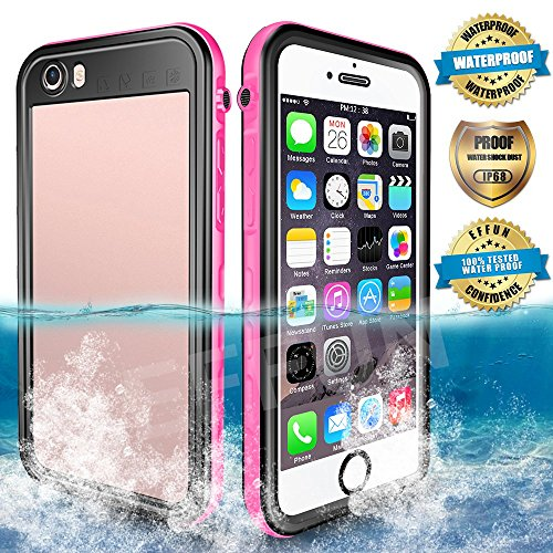 EFFUN Waterproof iPhone 6/6s Case, IP68 Certified Waterproof Underwater Cover Dirtproof Snowproof Shockproof Case with Cell Phone Holder, PH Test Paper, Stylus Pen and Inflatable Floating Strap Pink