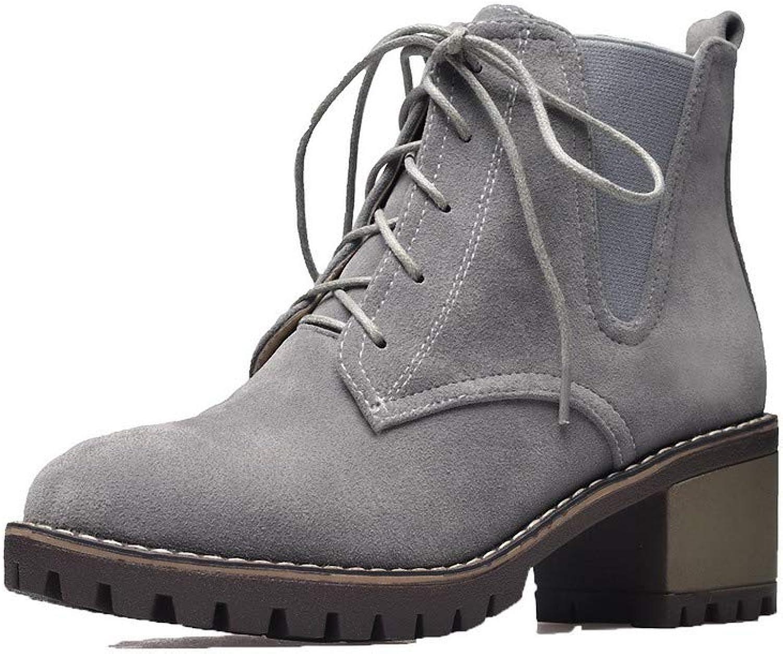WeenFashion Women's Imitated Suede Round-Toe Solid Low-Top Kitten-Heels Boots, AMGXX113979