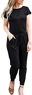 Womens Casual Short Sleeve Jumpsuits Elastic Waist...