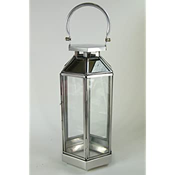 The silver glass candle lantern is part