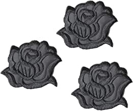 U-Sky Iron on Patches for Clothes, 3pcs Black Rose Flower Iron-on Patch Garment Accessary, Various Sew-on Appliques for Shirts/Backpacks/Hat/Jackets/Jeans to Cover Logo/Rip/Dirt, Size: 3.1x2.4 inch