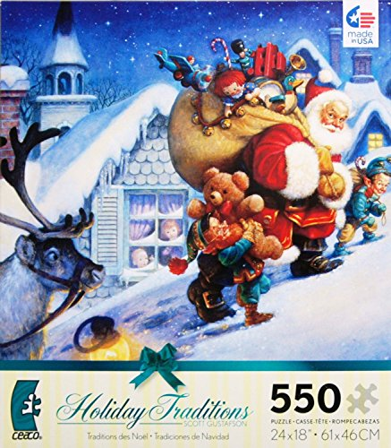 Scott Gustafson Holiday Traditions UP ON THE ROOFTOP 550 Piece Puzzle MADE IN USA