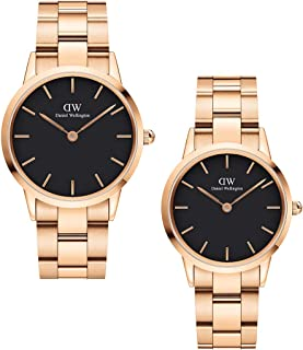 Daniel Wellington Unisex Iconic Link Couple Watch Gift Set, Rose Gold