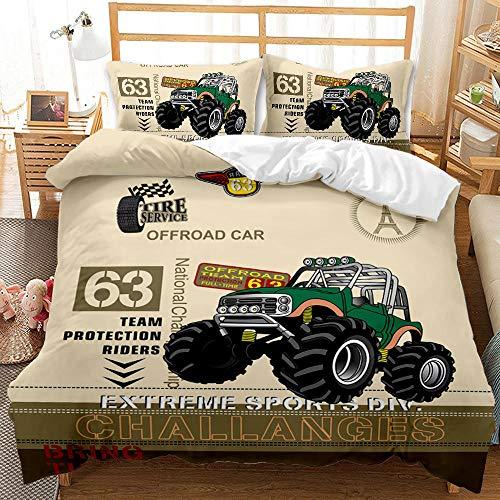 Bedclothes-Blanket Juego de sabanas Infantiles Cama 90,Suministros de Cama de impresión Digital de 3 Piezas lijadas de 3 Piezas Coche de Coche Fresco Off-Road-3_135 * 200 cm