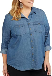 Brooke Leigh Women's Lightweight Denim Chambray Shirt with Roll Tab Sleeves