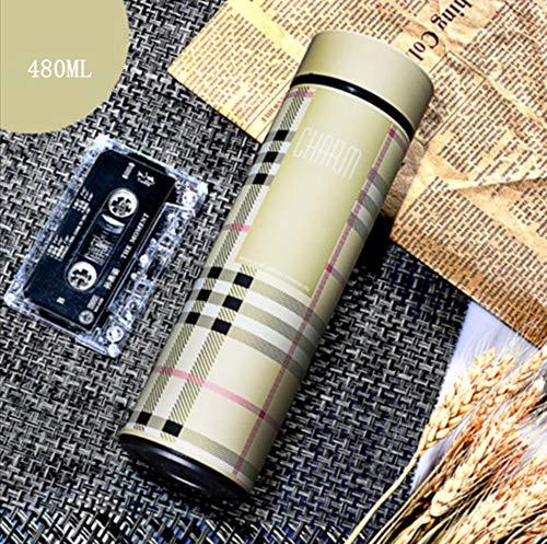 socoola Gestreifte Tassen Edelstahl Vakuum Flasche Tee Becher Thermo Tassen Isolierte Thermos Vakuumflasche 480ML B1
