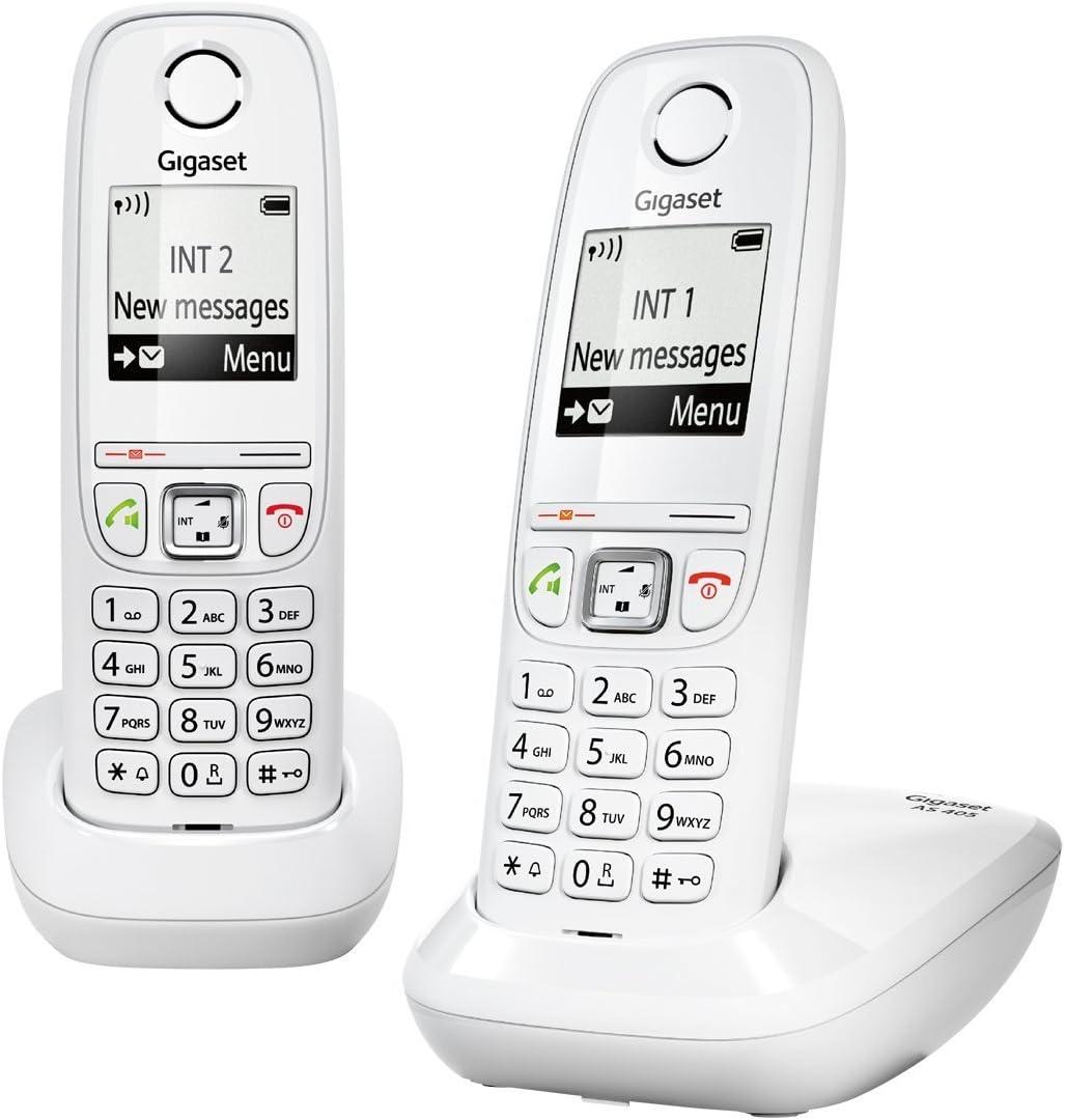 Gigaset AS405A Duo - Juego de teléfonos fijos DECT/GAP (2 terminales), color blanco [Versión Importada]