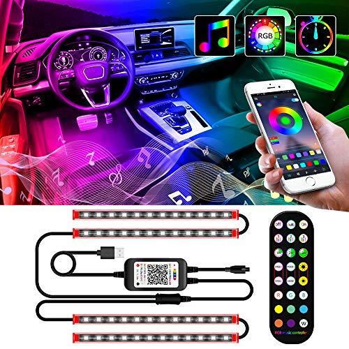 Auto Led Innenbeleuchtung, Ambiente Beleuchtung Auto, Autoatmosphäre Licht, Fußraumbeleuchtung mit Fernbedienung, Musik Synchronisation, Wasserdichte Auto Innenraumbeleuchtung mit USB, 12V