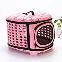 YSDHE Collapsable Pet Carrier Travel Bag with Mesh Sides for Small Dogs and Cats Hard Cover Portable Foldable Travel Tote Backpack Airline Approved Lightweight,17.7x15x12.6 Inch (Color : Pink)