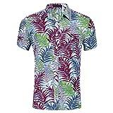 Camisas para Hombre, Camisa Informal Elegante de algodón de Manga Corta para Hombre, Botones completos, Transpirable, Lavable, sin decoloración, para Vacaciones