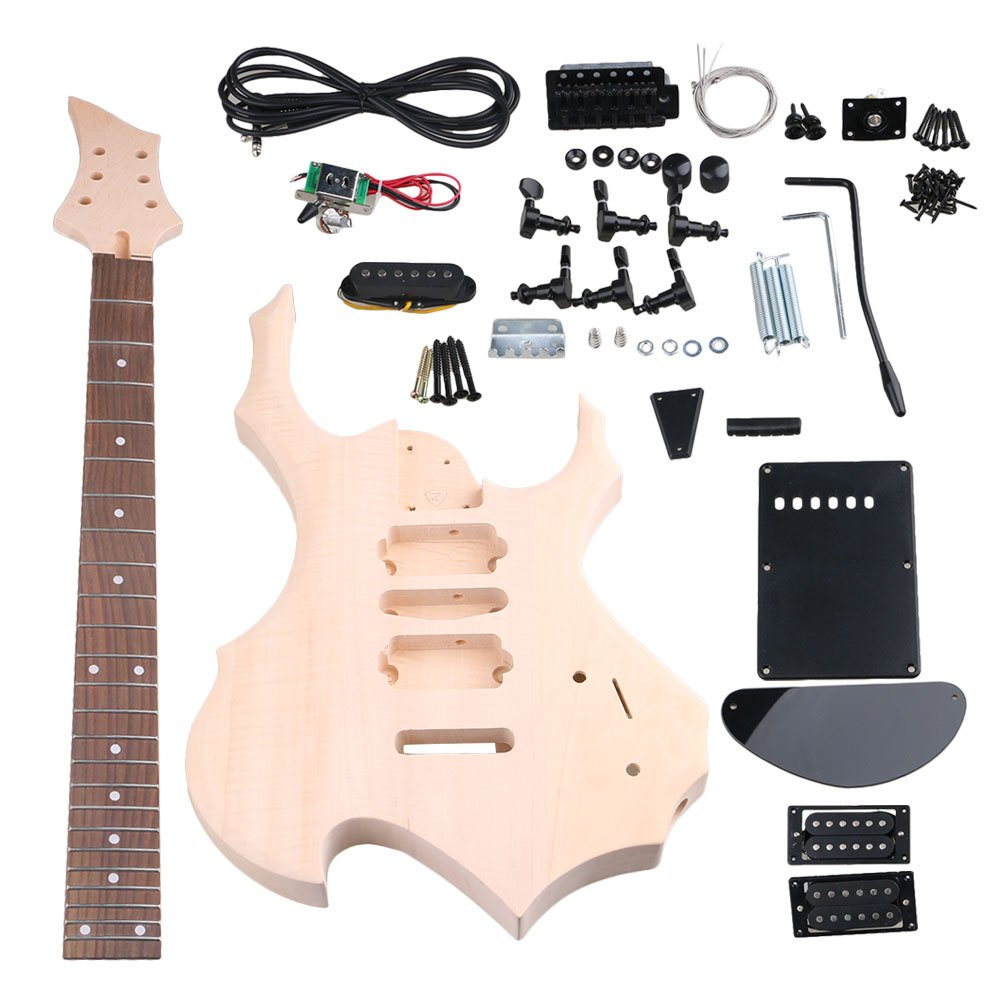 Cheap Yibuy Maple DIY HSH Pickup 1Tone 1Volumne Knobs EPS Electric Guitars Builder Kit Suit With All Accessories For DIY Lovers Black Friday & Cyber Monday 2019