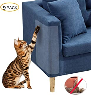 Wildmarely Cat Scratch Protection, Furniture Protectors Tapes for Pet 9 Pack Couch Guard Anti Cat Scratching Products with 3pc 0.01mm 15x40cm 6pc 0.02mm 30x40cm 40 Twist Pins