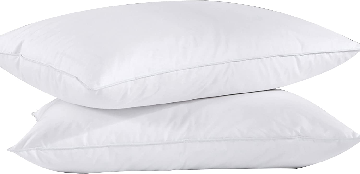 Puredown Feather Down Bed Pillow for Sleeping White Set of 2 King Size