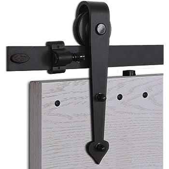 CCJH 5.5FT-168cm Herraje para Puerta Corredera Kit de Accesorios para Puertas Correderas Rueda Riel Juego para Una Puerta de Madera: Amazon.es: Bricolaje y herramientas