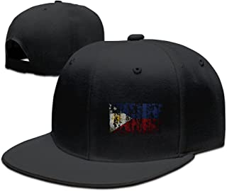 Unisex Vintage Philippines Flag Snapback Flat Cap Peak Fit Hat ForestGreen