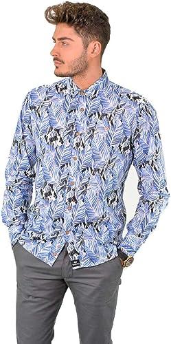 DIVaño - Camisa Estampaño Hojas Manga Larga Color azul - para Hombre