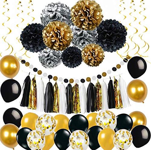 MAKFORT Party Deko Set Gold Silber Schwarz Pompoms Quasten Girlande Luftballons Papier Girlande spiralgirlanden Geburtstag Hochzeit Partydeko