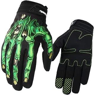 Alician 3D Fashion Ghost Skeleton Skull Bone Gloves Motorbike Full Finger Gloves Green XL