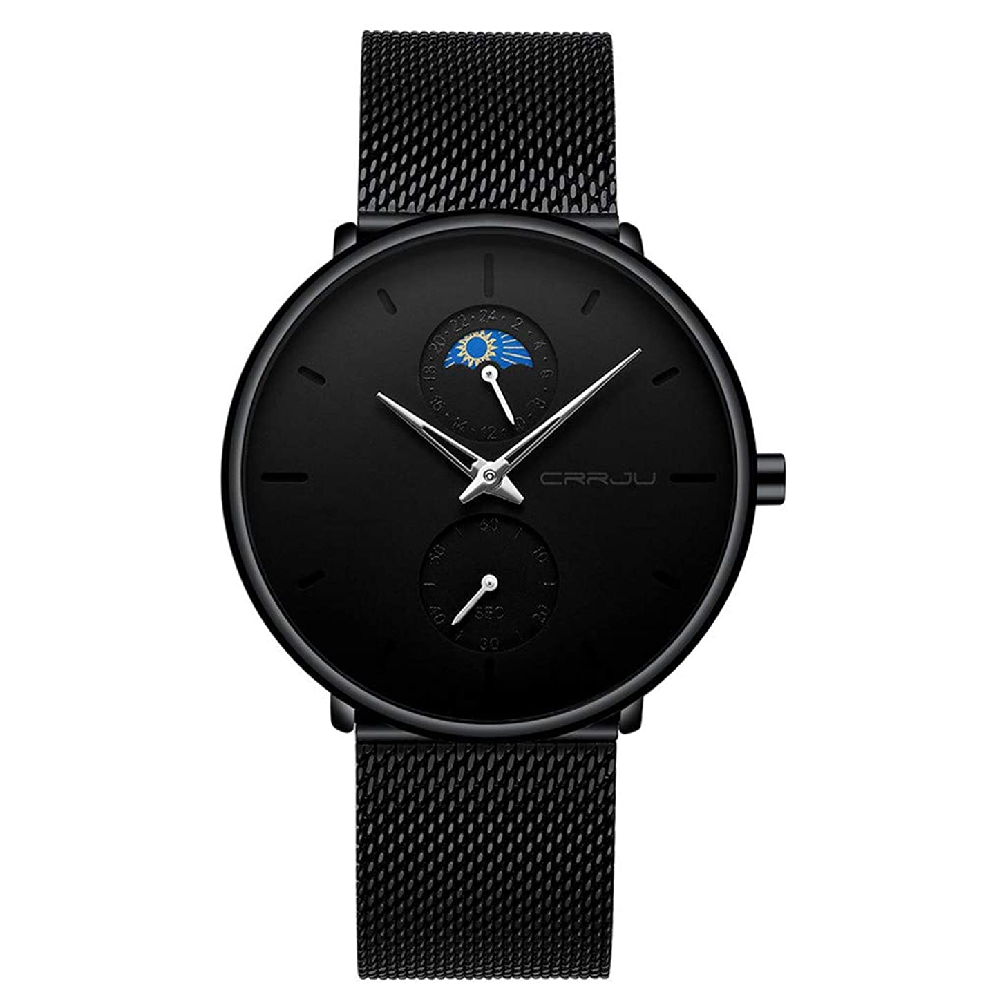 Londony? Men's Fashion Watch Simple Casual Analog Quartz Date with Black Milanese Mesh Band Minimalist Wrist Watches