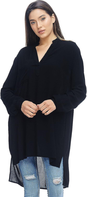 Alexander + David A+D Womens Casual Loose Fit Black Midi Tunic Shirt Dress w Pocket