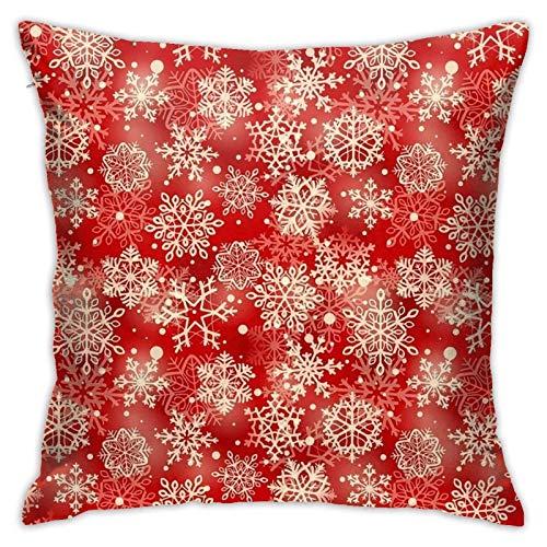 qimingshajinzhubaoshangxing Fundas de almohada, diseño de copos de nieve de Navidad rojos, hermosas fundas de almohada cuadradas brillantes para sofá, sofá, coche, funda de cojín de 45 x 45 cm