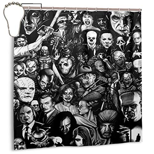 Shower Curtain,Classic Horror Movies Black,Printed Pattern Machine Washable Home Bathroom Decorations 72x72 in