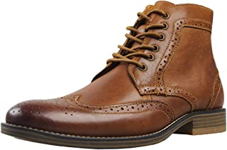 Kunsto Men's Leather Classic Brogue Boots