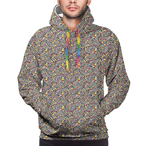 FULIYA Men's Hoodies Sweatshirts,Bullseye Pattern Symbols of Love with Colorful Dots Abstract Valentines Day Theme,Large