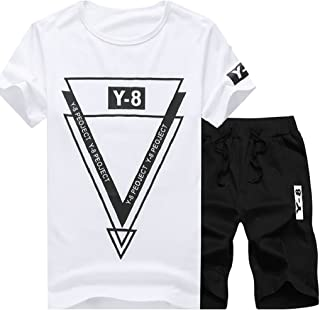 Maweisong Men's Sports Tracksuit T Shirt and Shorts Running Jogging Set