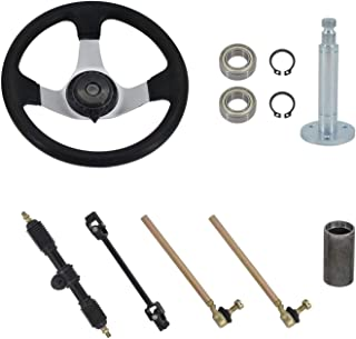 300mm Steering Wheel Steel Kit for compatible with 110cc Go Kart, Fit 150cc To 250cc Engines