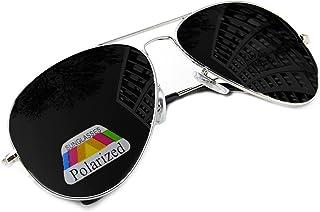 Morefaz - Hombre Mujer Polarizado Gafas De Sol Estilo Piloto Silver Black