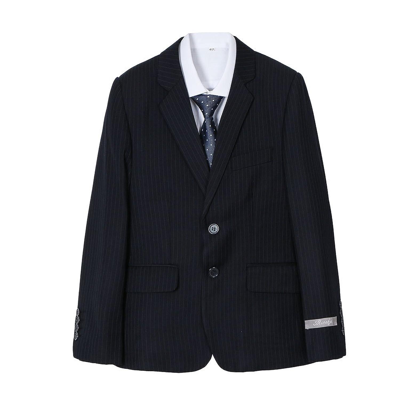 男子 フォーマル 子供スーツ(ネイビー?ピンストライプ/2つボタン/スリーピース) 5点セット(ジャケット?ズボン?ベスト?ホワイトカッター?ネクタイ)