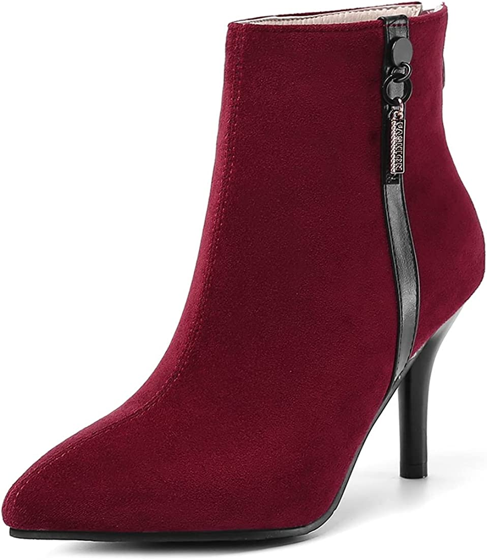 VOKLIN Women's Nippon regular agency Fashion Pointed Toe Booties Suede Denver Mall Ankle Dressy Zi