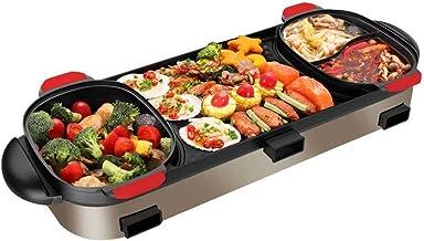 DYXYH Hot Pot électrique, barbecue Grill et Hot Pot, multi-fonction Barbecue Hot Pot Double Pot électrique Grill Accueil é...