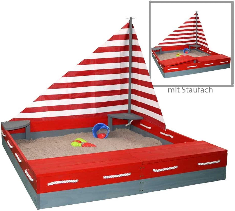 Sun Sandkasten SEEFAHRER Sandkiste aus Massivholz + Windsegel + Abdeckplane by Woodinis-Spielplatz