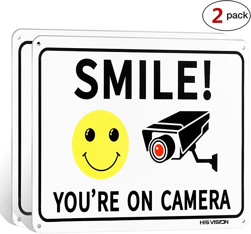2 Pack Smile You Re On Camera Video Surveillance Sign 10 X7 Rust Free Aluminum Metal Warning Sign For CCTV Monitoring System By HISVISION
