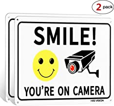 (2 Pack) Smile You're on Camera, Video Surveillance Sign, 10