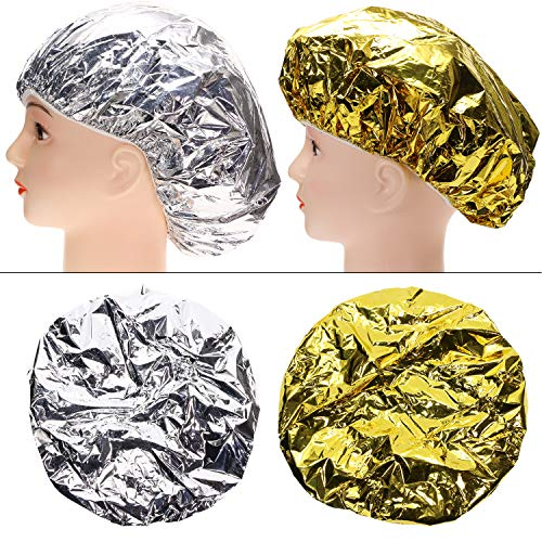 Tupalizy 4PCS Deep Conditioning Heat Cap Aluminum Foil Shower Cap for Women Natural Hair Dying Lifting Color Hot Oil Treatments Processing Caps for Nourishing Hair Salon Spa Home Use, Gold and Silver
