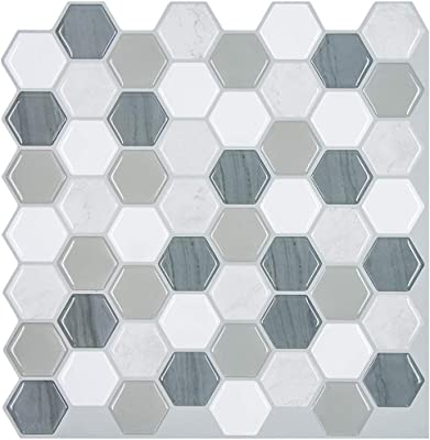 Tic Tac Tiles 6-Sheet Peel and Stick Self Adhesive Removable Stick On Kitchen Backsplash Bathroom 3D Wall Sticker Wallpaper Tiles in Honeycomb Mocha