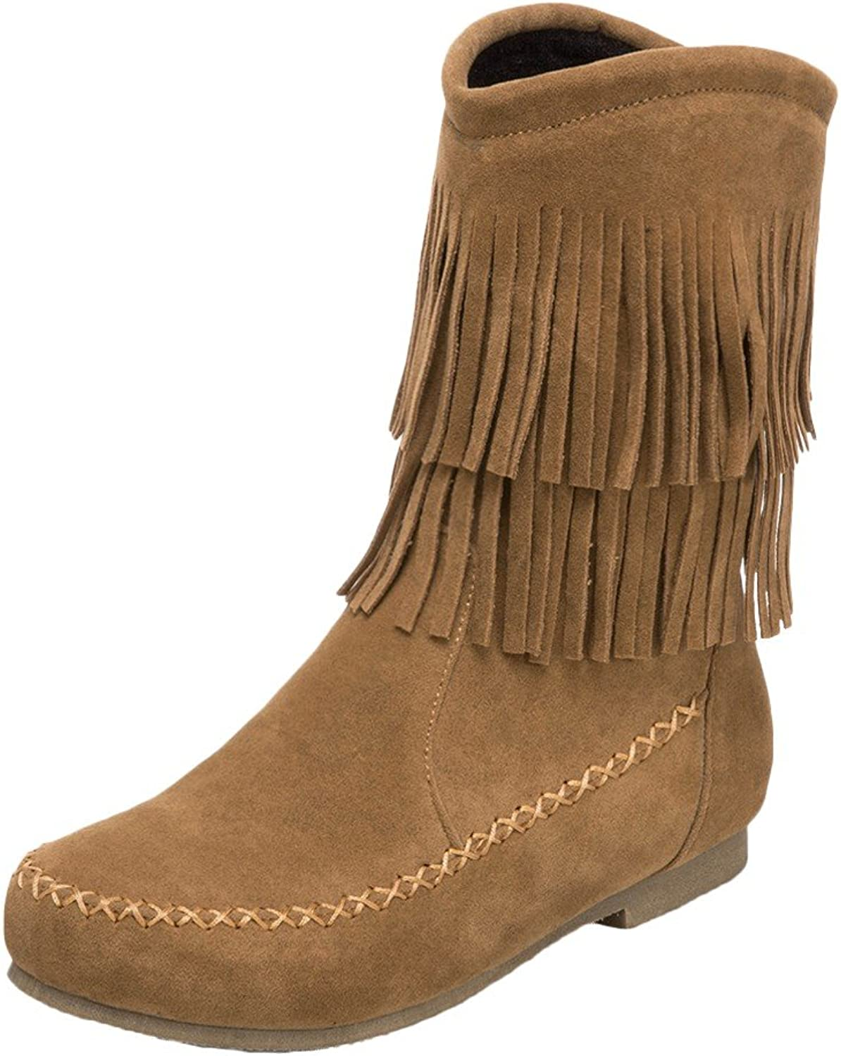Charm Foot Women's Round Toe Low Heel Tassels Snow Boots