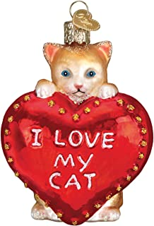 Old-World Christmas Glass Blown Ornament with S-Hook and Gift Box, Animals Selection (I Love My Cat, 30051)
