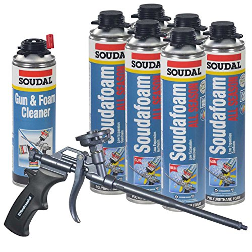 Soudal Kit, 6 Cans All Season Window & Door Foam, AWF Pro Teflon Coated Foam Gun, 1 Gun & Foam Cleaner