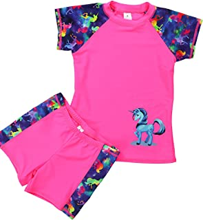 4c12745233 iDrawl Kids Two Piece Swimsuits Set Short Sleeves Swimwear Boys Girls Bathing  Suit Rash Guard Sets