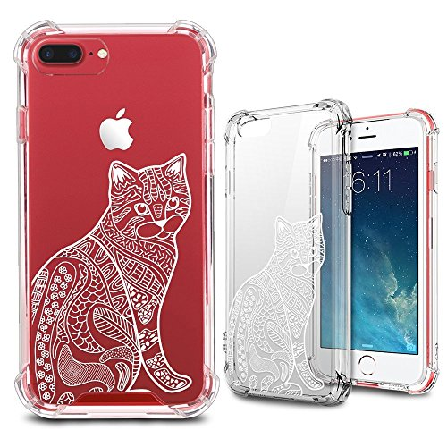 iPhone 7 Plus Case, iPhone 8 Plus Clear Case, MISS ARTS White Floral Cat Shock Absorption TPU Bumper Cushion + Scratch Resistant Clear Protective Cases Hard Cover for Apple iPhone 7/8 Plus - Cat