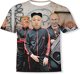 Trump Kim Jong-un Putin Print T-Shirt - White(2XL)