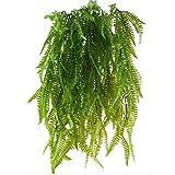 MIHOUNION HUAESIN 2 Pcs Farn Künstlich Kunstpflanzen Hängend Hängepflanzen Künstliche Grünpflanze Kunststoff Pflanzen Kunstpflanzen für Draussen Balkon Topf Hochzeit Garten Deko