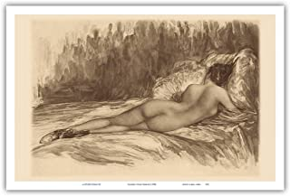 Pacifica Island Art - Charcoal Figure Drawing - Unclothed Woman - from an Original Etching and Drypoint c.1930s - Master A...
