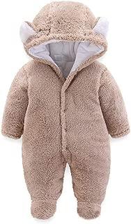 Unisex Baby Newborn Wrap Cartoon Bear Snowsuit Thick Fleece Soft Footies Romper Jumpsuit